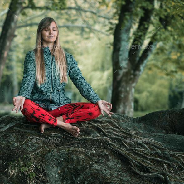 Mindfulness meditation - Stock Photo - Images