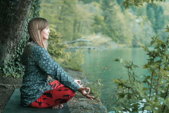 Present moment mindful meditation - Stock Photo - Images