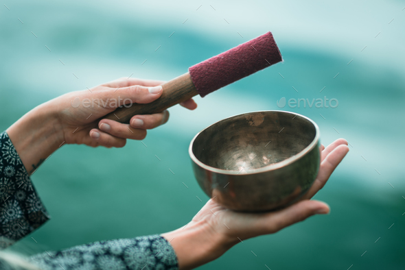 Tibetan singing bowl - Stock Photo - Images