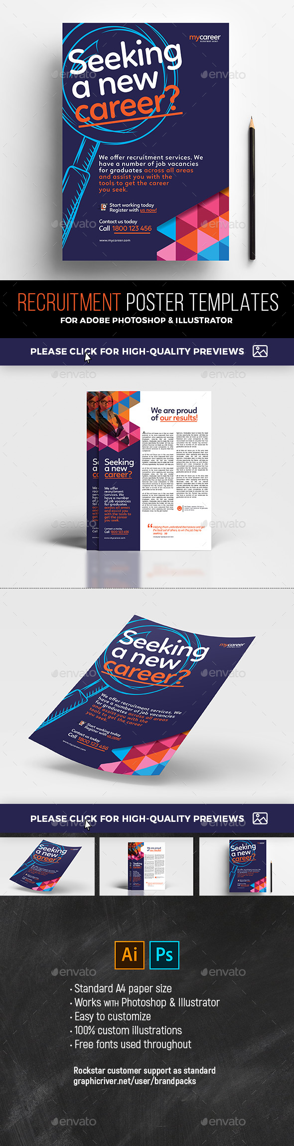 Recruitment Agency Poster Templates - Corporate Flyers