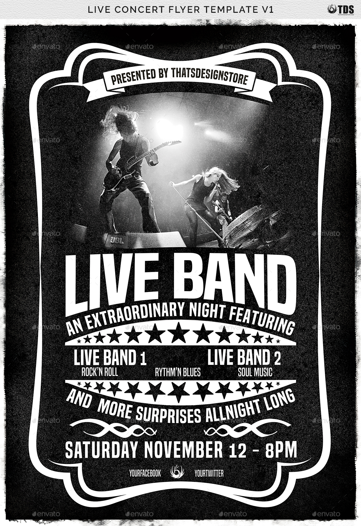 Band Flyer Template | Live Concert Flyer Template V1 By Lou606 Graphicriver