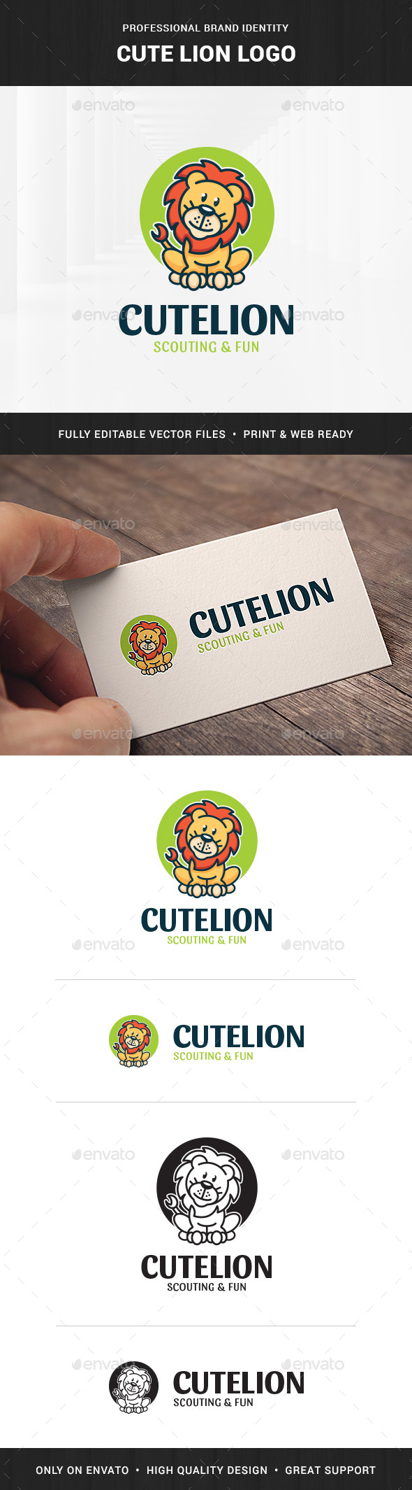 Cute Lion Logo Template - Animals Logo Templates