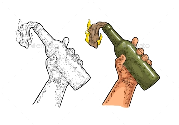Male Hand Holding Molotov Cocktail - Miscellaneous Vectors