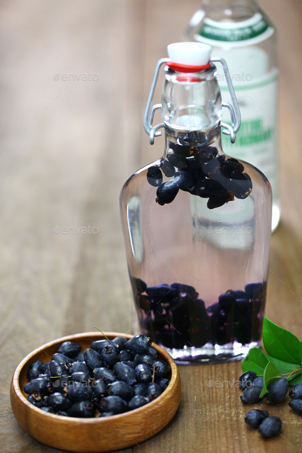 making myrtle liqueur, italian sardinia traditional digestif mirto. - Stock Photo - Images
