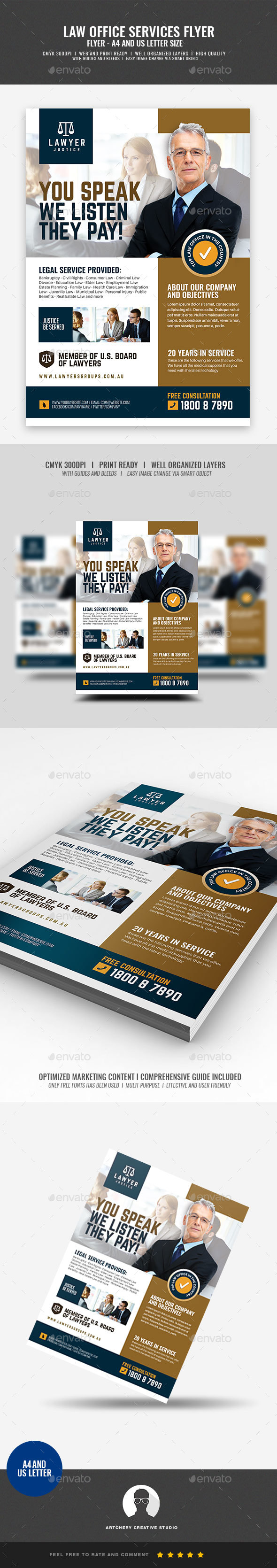 Law Firm and Legal Services Flyer - Corporate Flyers
