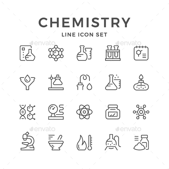 Set Line Icons of Chemistry - Man-made objects Objects