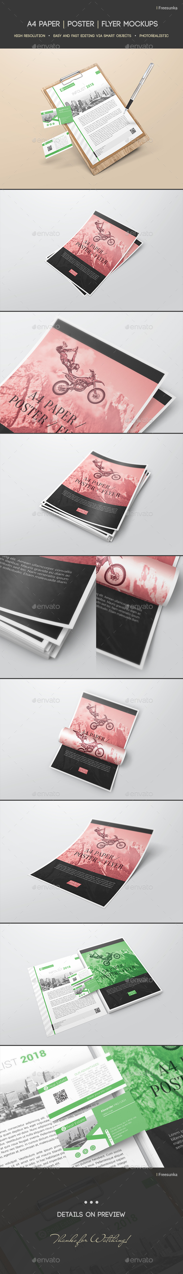 A4 Paper /  Poster / Flyer Mockups - Flyers Print