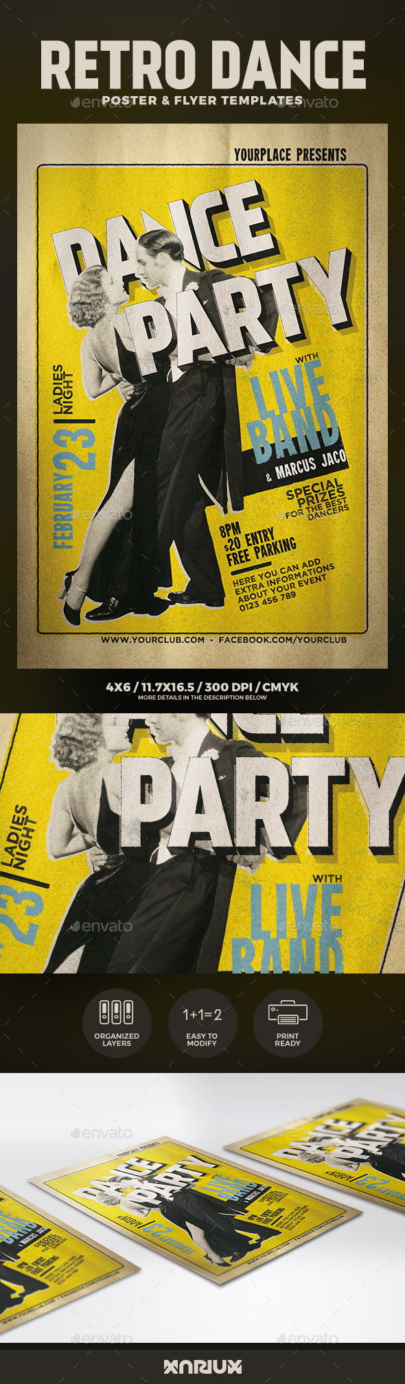 Retro Dance Flyer and Poster Template - Clubs & Parties Events
