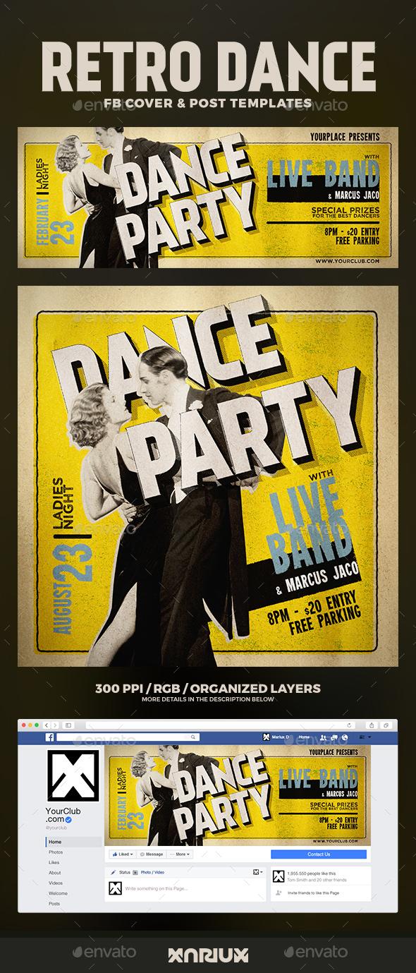 Retro Dance Party Facebook Cover - Social Media Web Elements