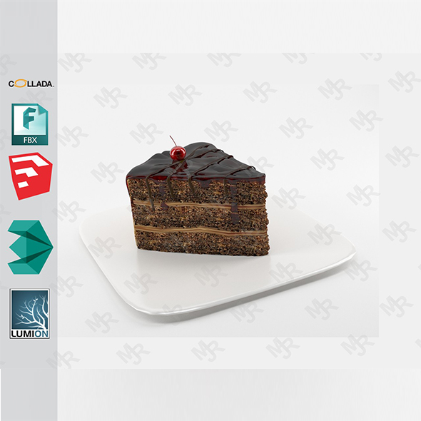 Slice of chocolate cake - 3DOcean Item for Sale
