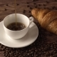 Coffee Break Times. Aroma of Hot Black Americano Coffee with Croissants Bakery a Good Refreshing - VideoHive Item for Sale