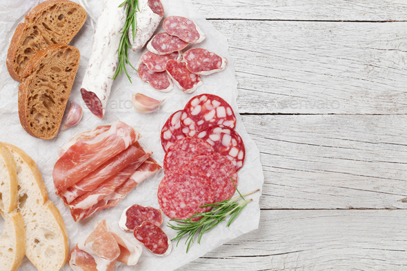 Salami, ham, sausage, prosciutto - Stock Photo - Images