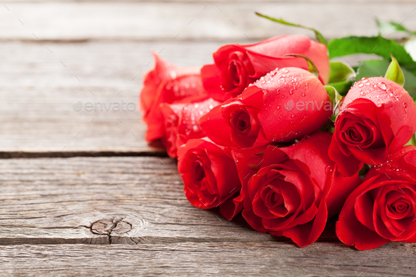 Valentines day greeting card with roses - Stock Photo - Images