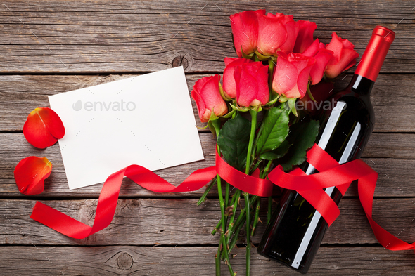 Valentines day greeting card with red wine - Stock Photo - Images
