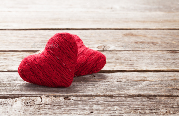 Valentines day greeting card with red hearts - Stock Photo - Images
