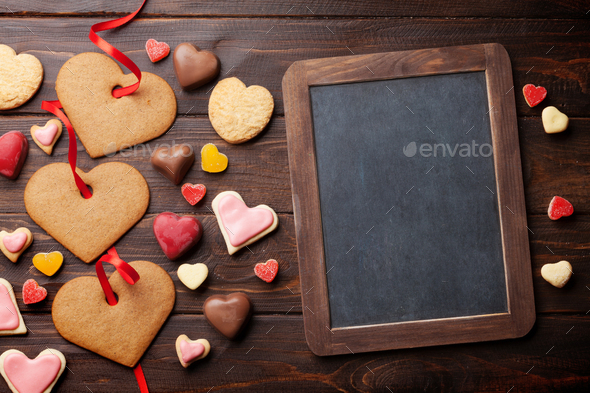 Valentines day greeting card with heart cookies - Stock Photo - Images