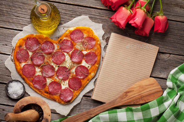 Heart shaped pizza - Stock Photo - Images