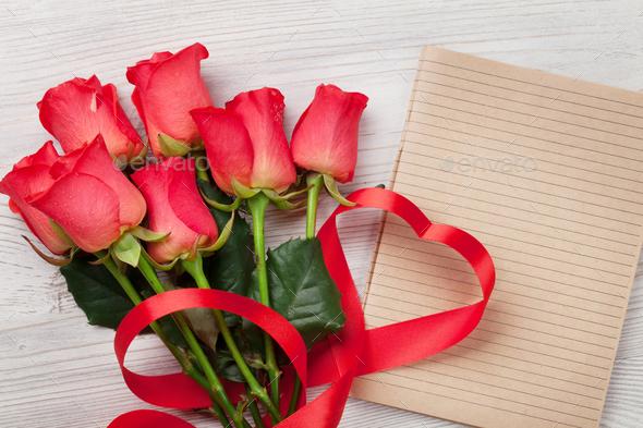 Valentines day greeting card with red roses - Stock Photo - Images