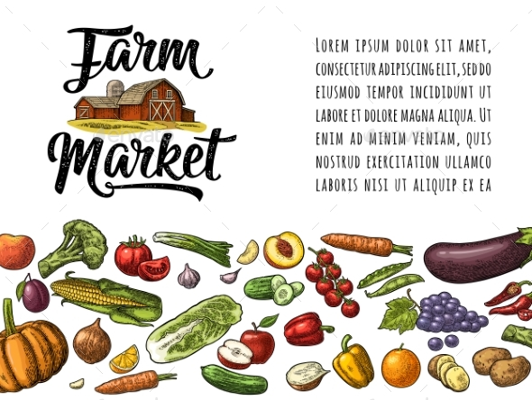 Farm Market Calligraphic Lettering with Hangar - Food Objects
