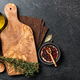 Cooking background with cutting board, utensils and ingredients - PhotoDune Item for Sale