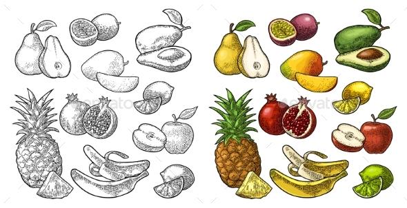 Set Fruits - Food Objects