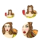 Vector Pop Art Avatar of Pin Up Girl with Burger
