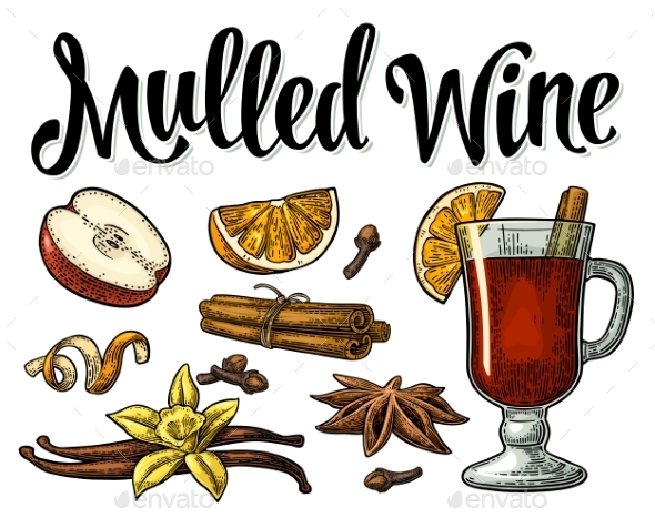 Mulled Wine with Glass and Ingredients - Food Objects