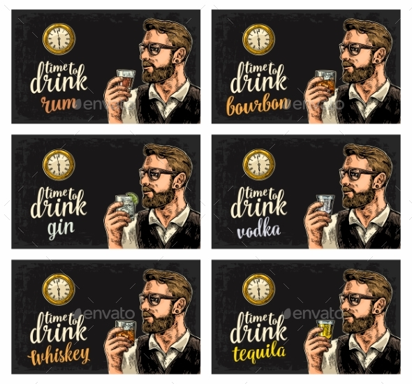 Hipster Holding Alcohol Drinks - People Characters