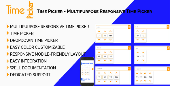 Time Picker - Multipurpose Responsive Time Picker - CodeCanyon Item for Sale