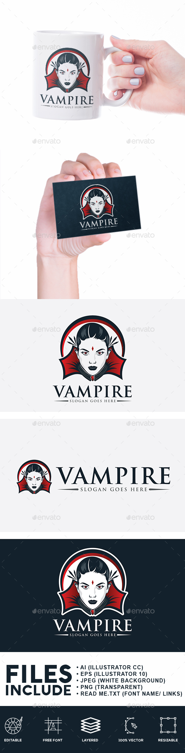 Lady Vampire Logo - Humans Logo Templates