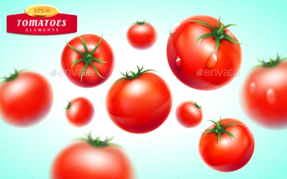 Tomato Realistic Background - Food Objects