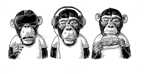 Three Wise Monkeys Not See Not Hear Not Speak - Animals Characters
