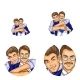 Vector Pop Art Social Network User Avatars of Gay Couple