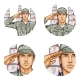 Vector Cemetery Salute Soldier Pop Art Avatar Icon