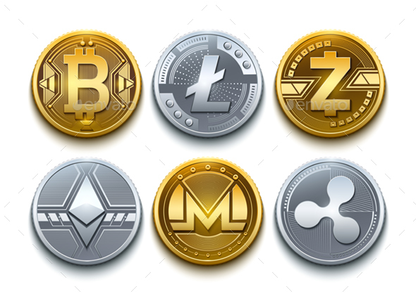 Digital Vector Cryptocurrency Coins Icons Set With Bitcoin - Concepts Business