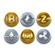 Digital Vector Cryptocurrency Coins Icons Set With Bitcoin - GraphicRiver Item for Sale