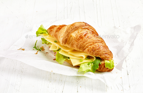 croissant sandwich with cheese - Stock Photo - Images