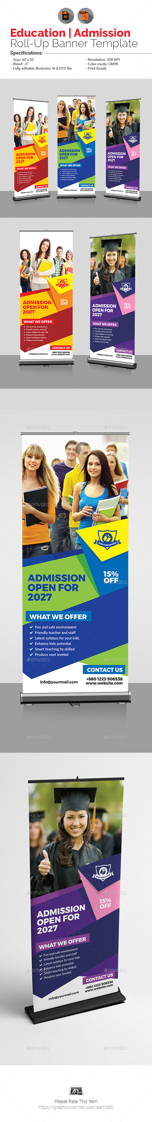 Education | Admission Roll Up Banner Template - Signage Print Templates