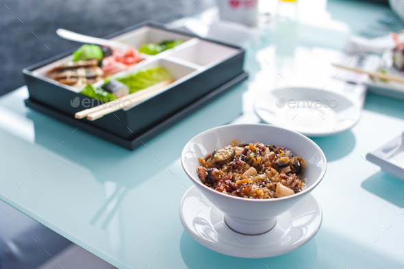 Rice with vegetables, Asian food - Stock Photo - Images