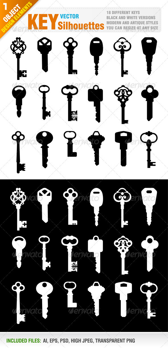 18 Key Silhouettes - Man-made Objects Objects