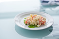 Fresh vegetable salad with corn, pepper, crab, cucumber, eggs and mayonnaise - PhotoDune Item for Sale