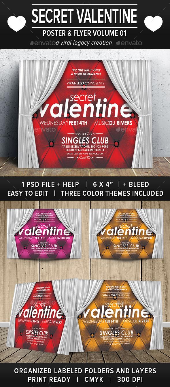 Secret Valentine Flyer V01 - Events Flyers