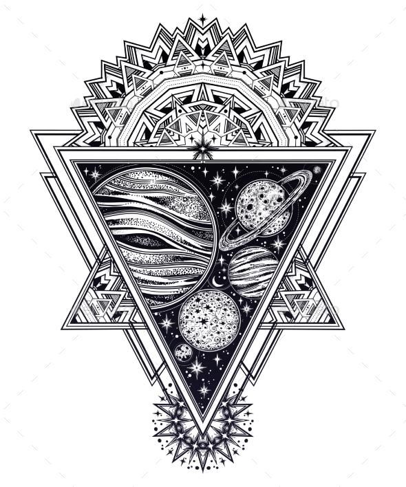 Decorative Solar Planets in Framed Composition. - Decorative Symbols Decorative