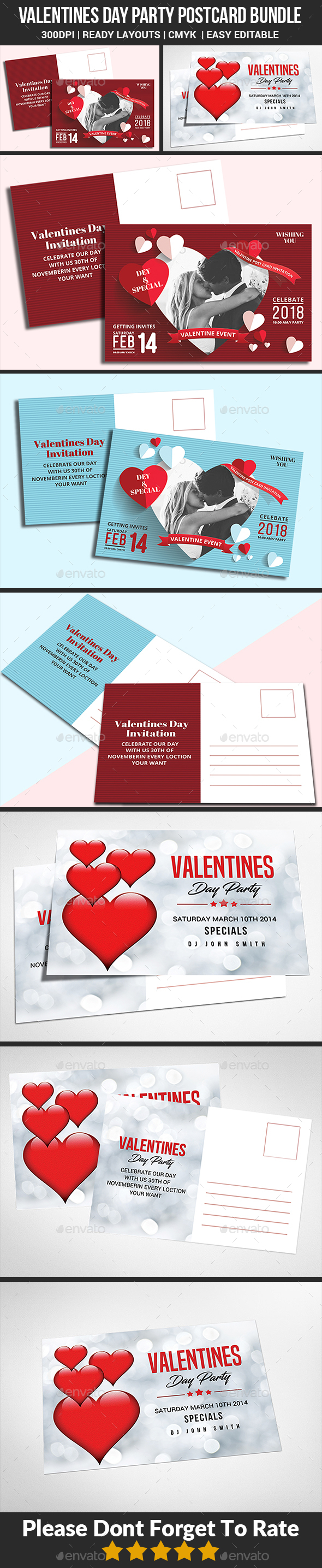 Valentine Post Card Bundle - Cards & Invites Print Templates