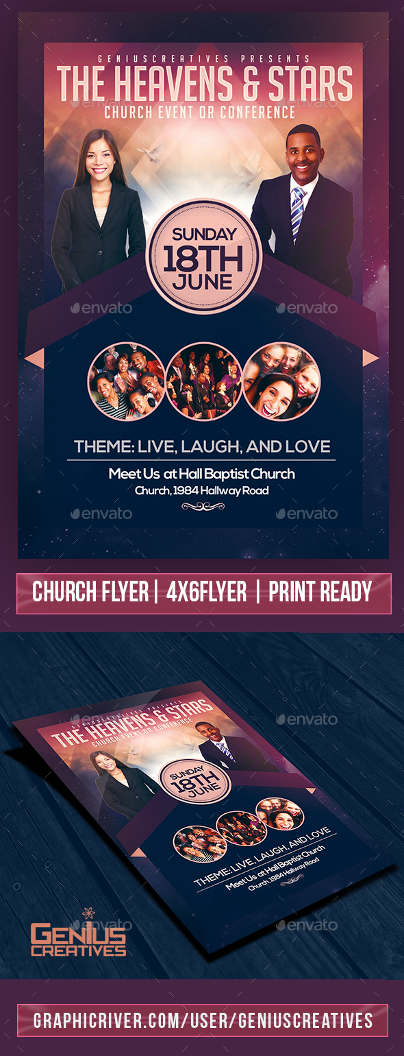 Heaven and Stars Church Flyer Template - Church Flyers