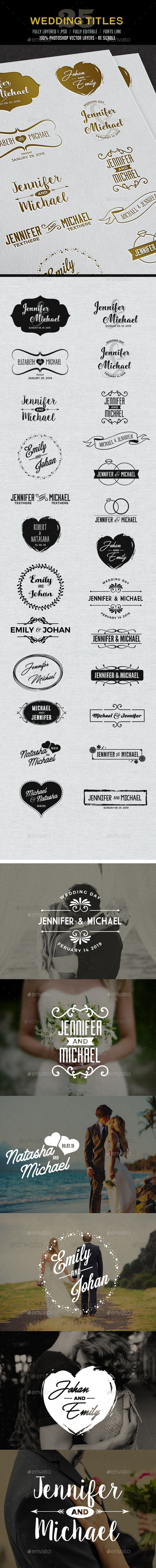 25 Wedding Titles / Typography - Badges & Stickers Web Elements