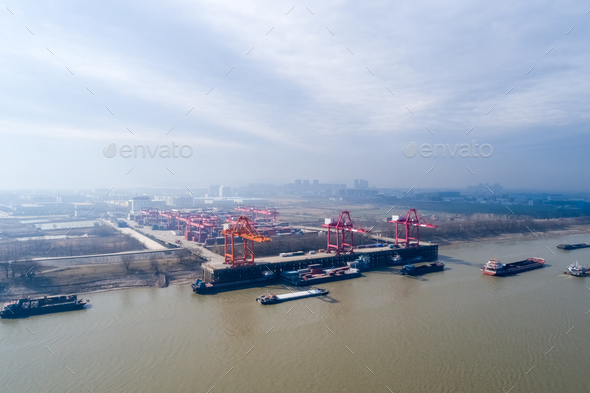 inland container terminal on jiujiang - Stock Photo - Images