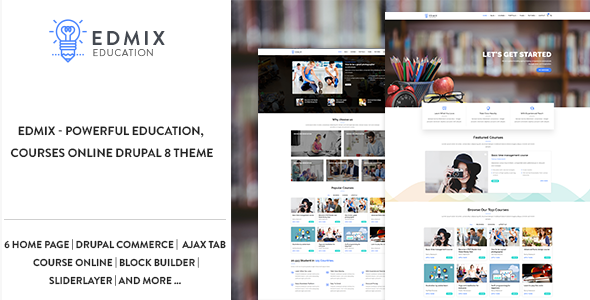 Edmix - Powerful Education, Courses Online Drupal 8 Theme
