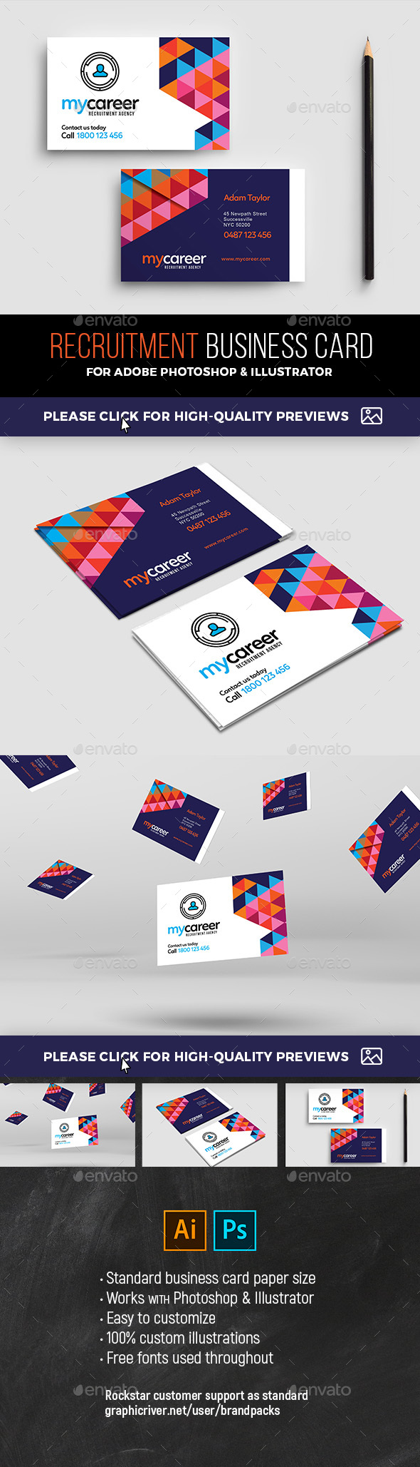Recruitment agency business card template by brandpacks graphicriver recruitment agency business card template corporate business cards reheart Image collections