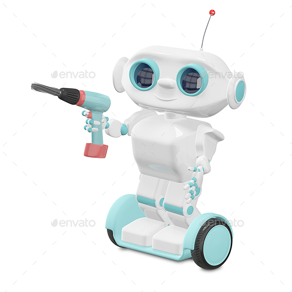 3D Illustration Little Robot with Screwdriver - Characters 3D Renders